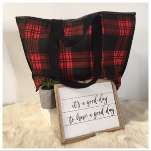 NWOT Urban Outfitters Black & Red Plaid Tote Bag